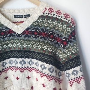 Vintage Sweaters - Vintage Cropped Fair Isle Chunky Knit Sweater